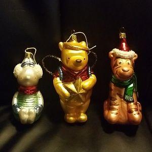 Pooh Tigger Piglet Disney Glass Ornaments